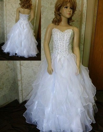 Organza Flower Girl with Ruffled Skirt