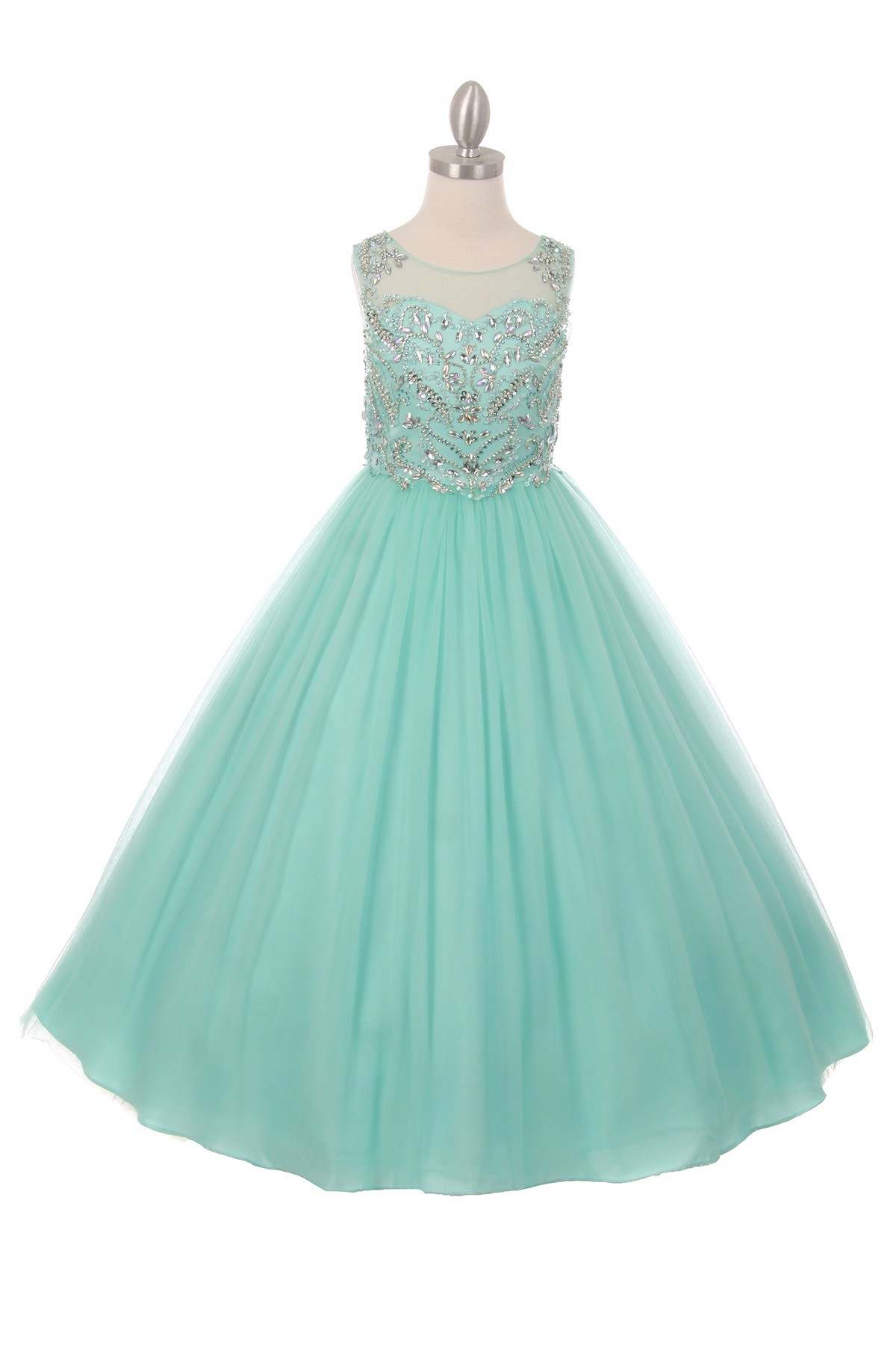 Mint or pink pageant dresses. Charming girls long pageant dresses.