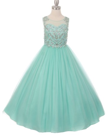 Long mint or pink pageant dresses with sparkling AB and rhinestone, illusion neck, open back, layered tulle skirt.