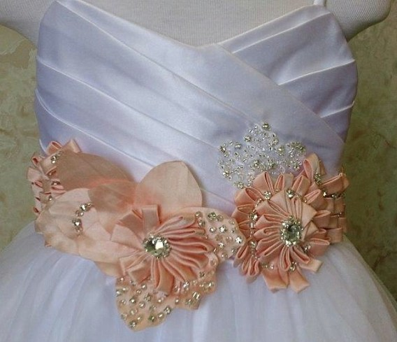 Easter flower girl dresses with floral accent waist