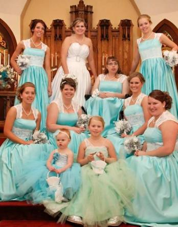 blue and green tutu dress for flower girl