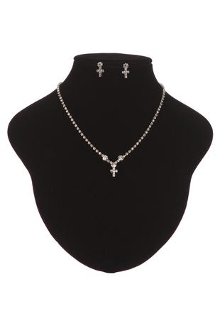 Cross necklace and earring set in silver
