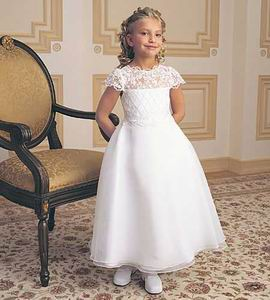 cSatin cheap lace flower girl dresses. Floor length white or ivory dresses. Lace illusion top dress priced at $40.