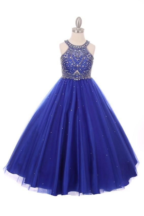 Girls royal blue princess style long dress rhinestones pageant wedding party ball gown. Halter neck rhinestone dress.