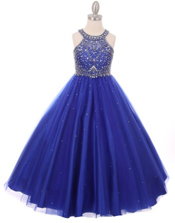 Girls royal blue princess style long dress rhinestones pageant wedding party ball gown. Halter neck rhinestone dress.