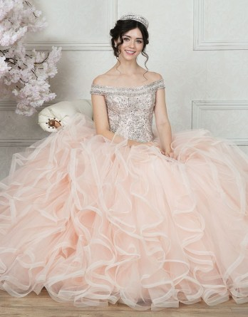 Elegant pink beaded bodice with off the shoulder sleeves, basque waist and layers upon layers of flowing ball gown skirt.
