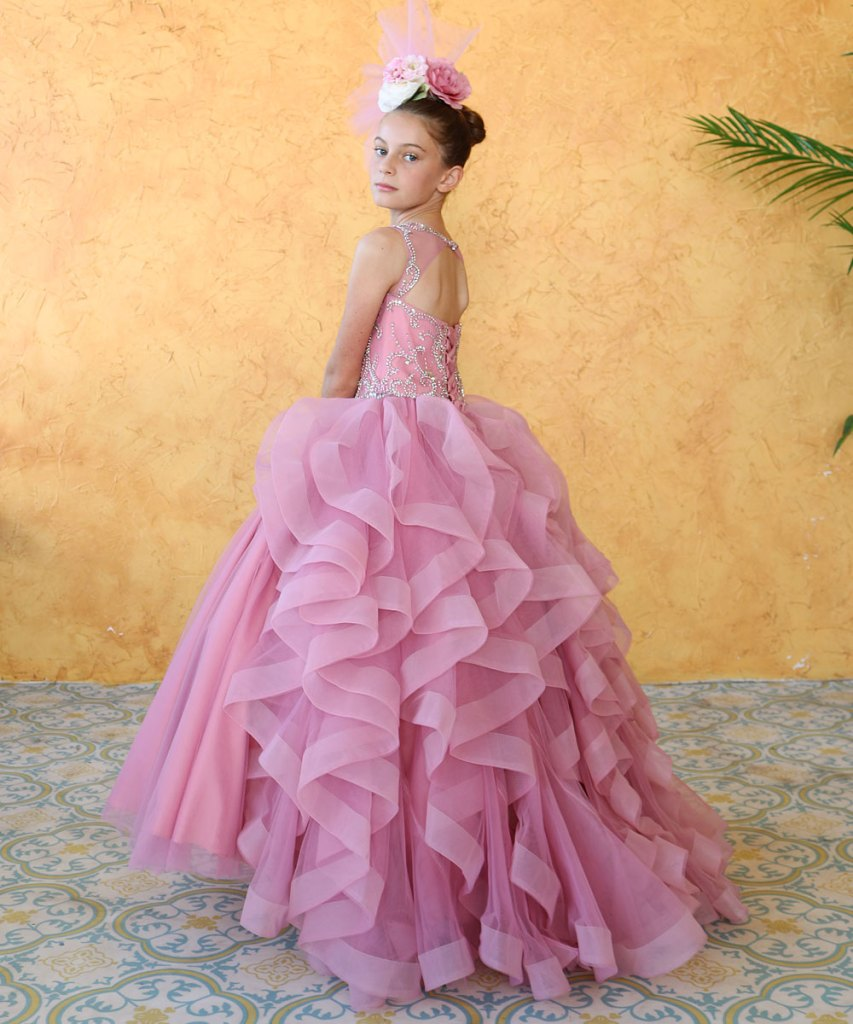 girls ruffle pageant gown