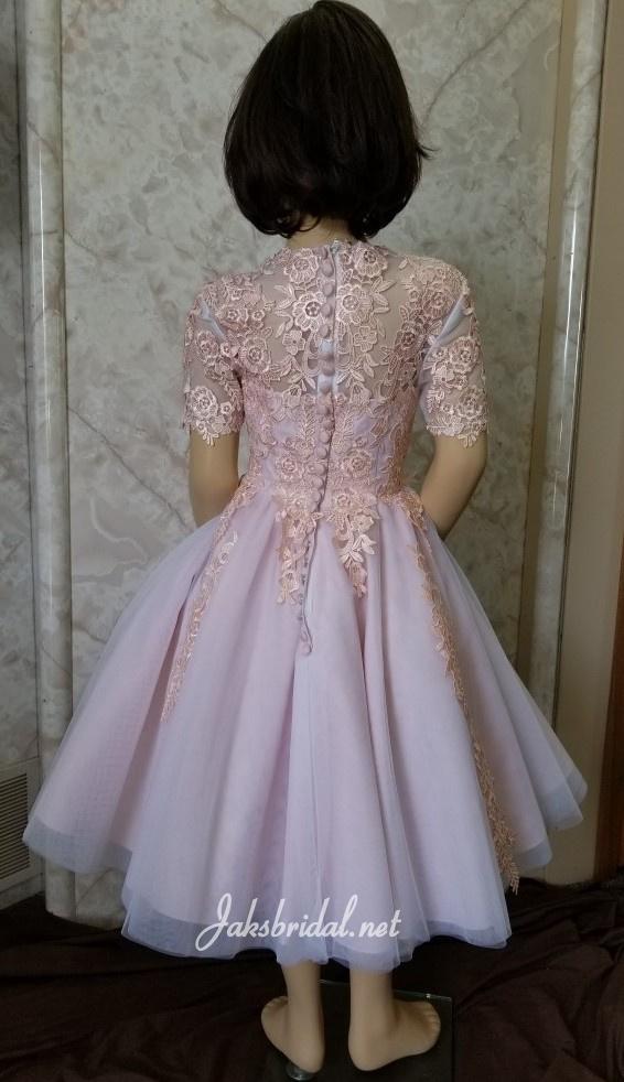 pink tea length flower girl dress