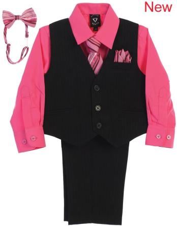 boys vest and pants set with fuchsia shirt