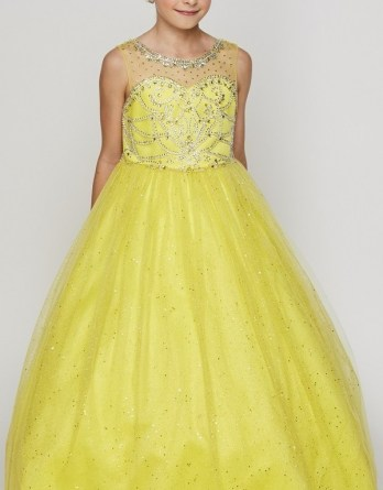 Girls yellow pageant dresses with beaded sweetheart bodice, illusion neckline, and long glitter tulle skirt.