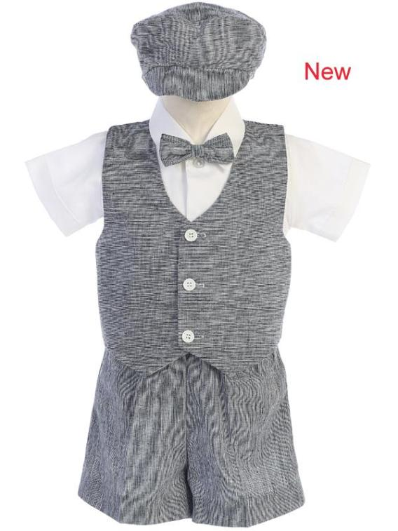 charcoal 5 piece boys formal shorts outfit