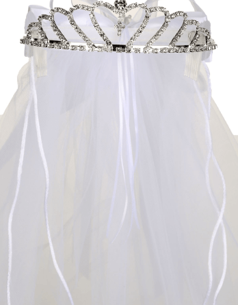 Virgin Mary Embroidered Tiara Crown Mesh First Communion Veil Flower Girl