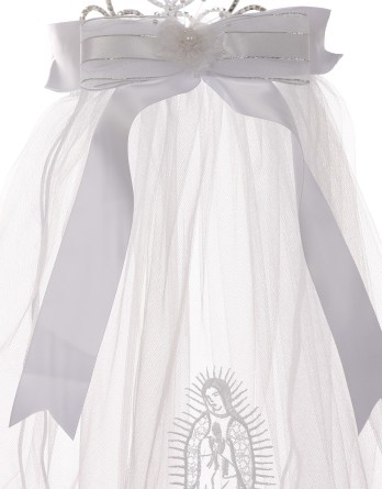 First communion virgin mary embroidered tiara veil with bow. Virgin mary communion veil for girls first communion.