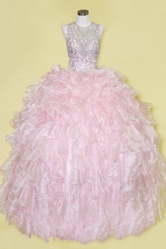 blush pink open back prom gown