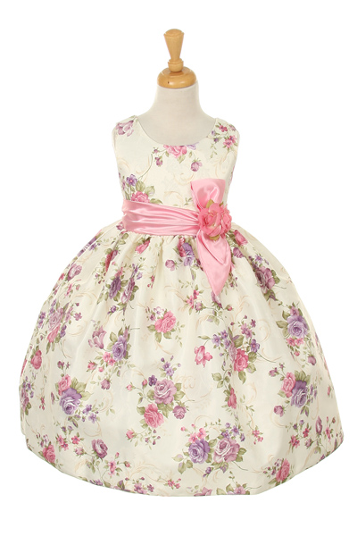 Girls pink flowered Easter dress