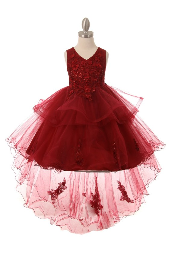 cheap burgundy flower girl dress with train