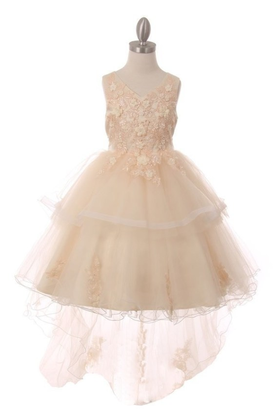 cheap champagne flower girl dress