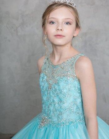 aqua beaded illusion dress