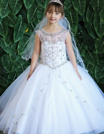 kids long beaded ball gown with illusion.