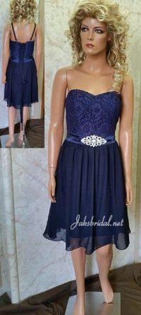 Navy lace bridesmaid dresses with crystal brooch sash