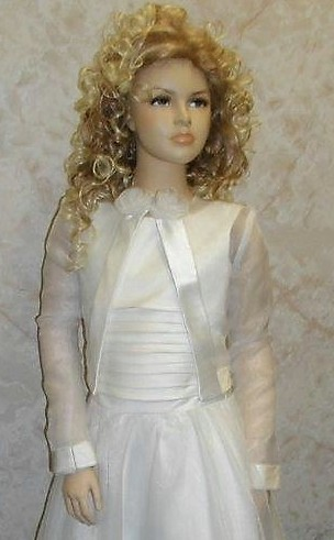 Long sleeve organza sheer jacket with satin edging and double rose trim. Boleros for Girls & Womens special events.