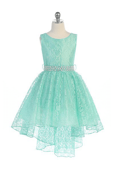 Hi-low allover lace dress in mint green