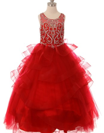 scarlet red formal pageant dresses for girls and juniors.