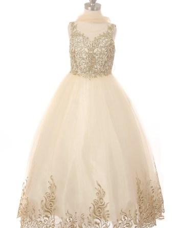 little girls champagne formal dress