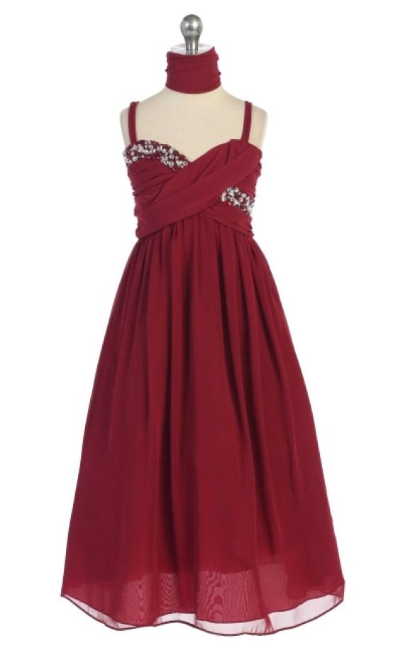Burgundy girls holiday dress