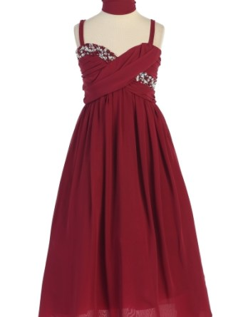 Burgundy girls holiday dress
