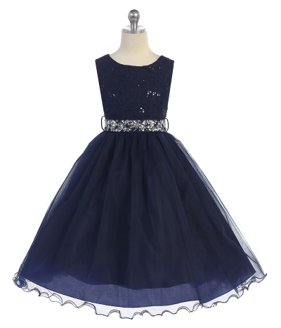 Navy sleeveless lace top sequin dress. Size 2-20. Girls tea length skirt has two layers of tulle, rhinestone belt.