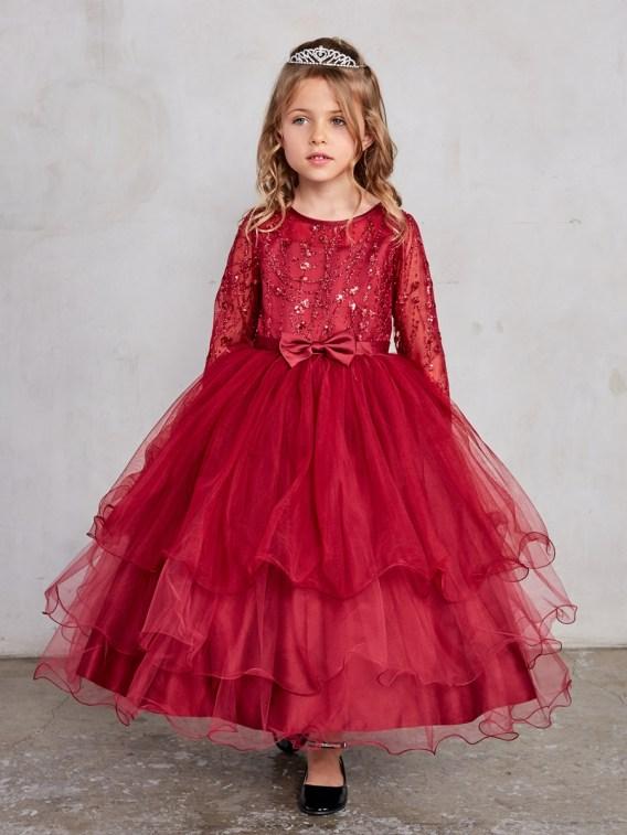 burgundy girls christmas dress