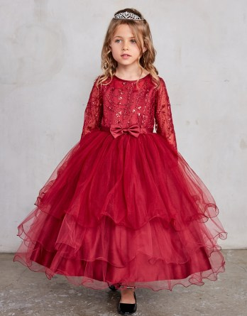 burgundy girls christmas dress