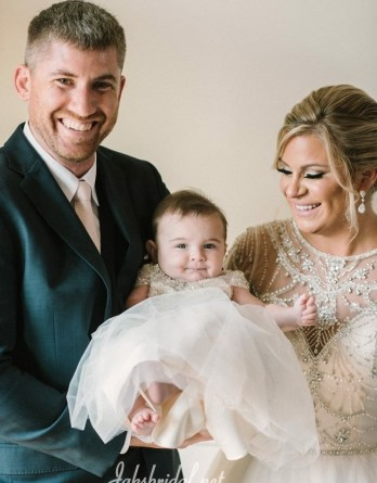 Bride and Young Daughter Dress Alike