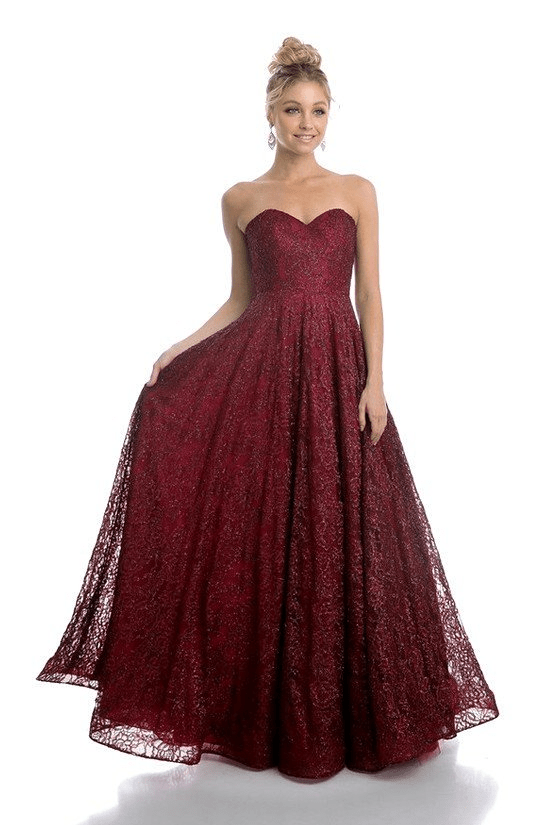 burgundy lace fitted strapless ball gown