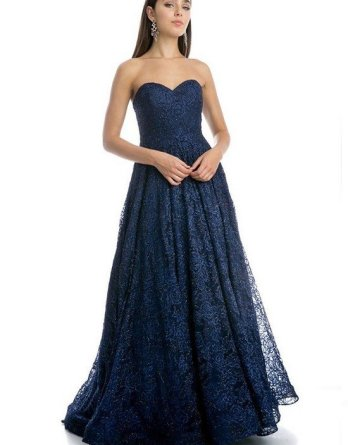 navy blue lace fitted strapless ball gown