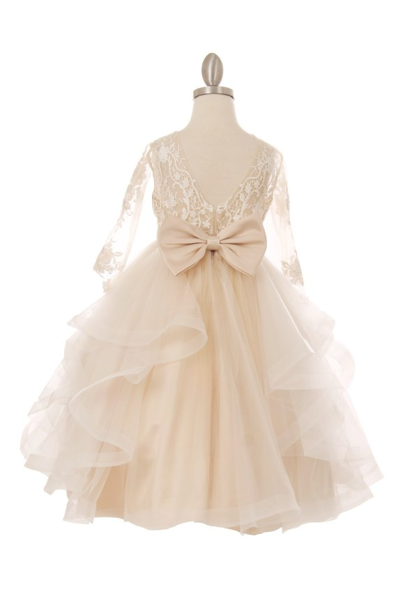 girls tea length champagne dress