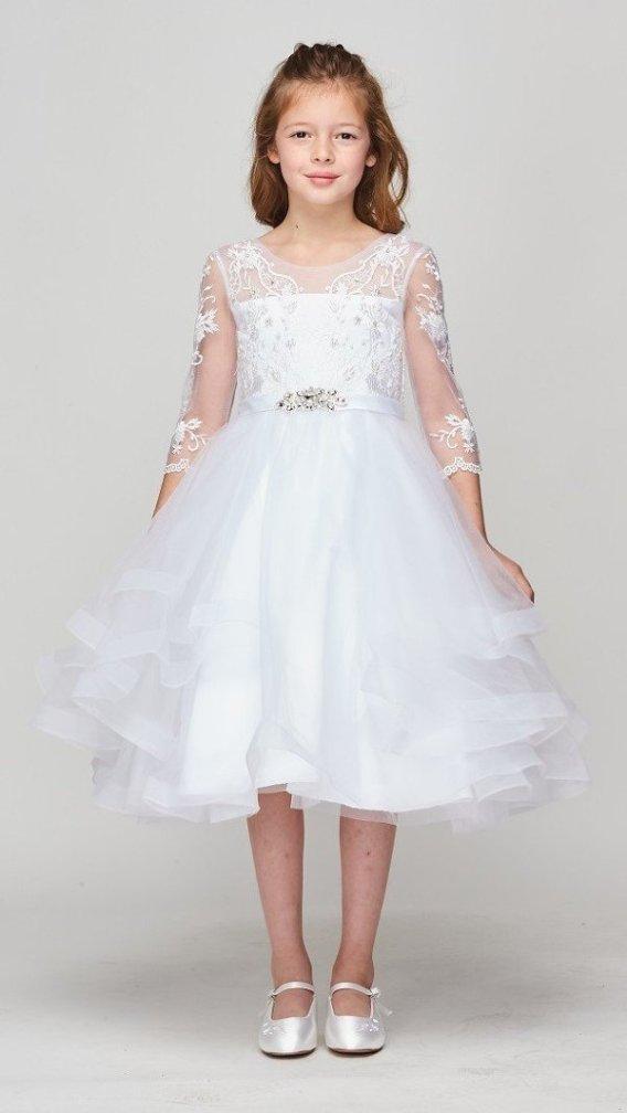 girls tea length white dress