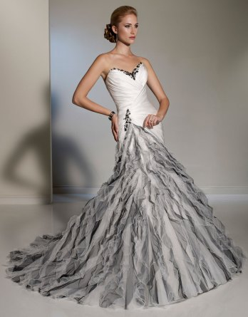 ivory and black wedding dress