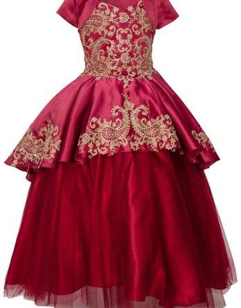 formal burgundy dress with detachable skirt