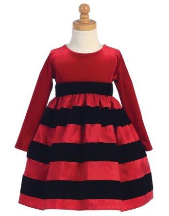 Long sleeve velvet dress with striped skirt