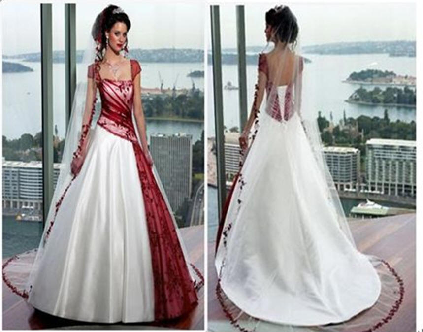 Red And White Wedding Dress With