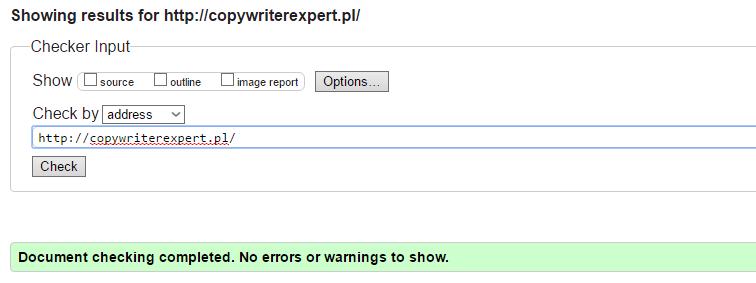 wyniki strony copywriterexpert.pl na stronie validator v3c