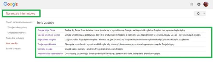 Boczne menu w google search console - narzędzia internetowe inne zasoby