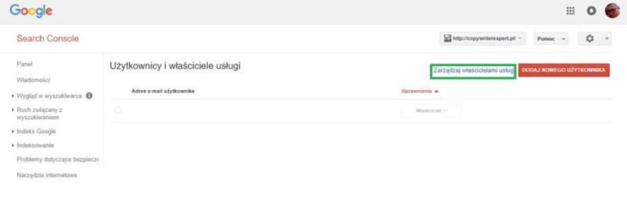 Dodaj uprawnienia właściciela do domeny w Google Search Console
