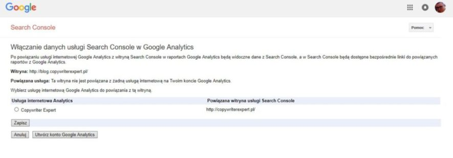 Instrukcja obsługi Google Search Console - Połączenie usługi Google Analytics z Google Search Console