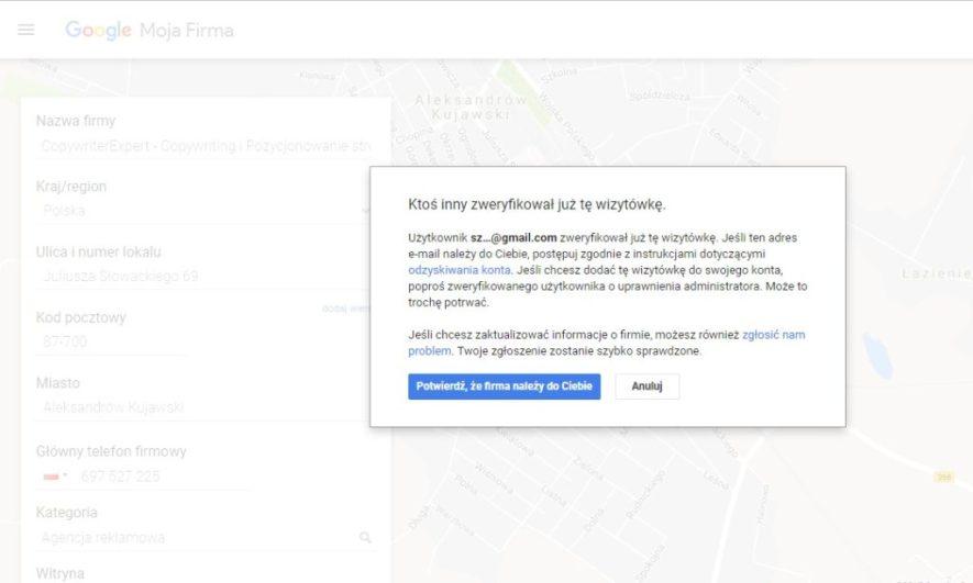 Ktoś inny zweryfikował już tę wizytówkę, jak dodać firmę do google moja firma