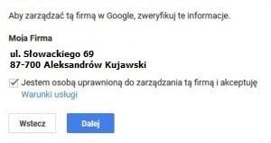 Potwierdzenie danych wizytówki firmy w Google Maps