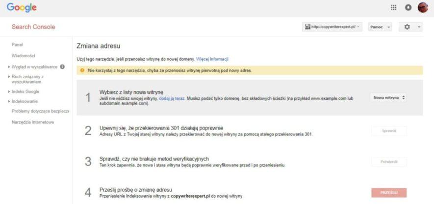 Ustawienia witryny w Google Search Console - zmiana adresu i przekierowanie