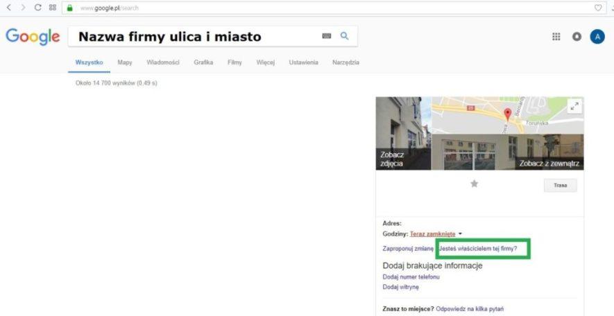 Google Moja Firma: zgłaszanie prawa do istniejącej wizytówki, Ktoś inny zweryfikował już tę wizytówkę, jak dodać firmę do google moja firma